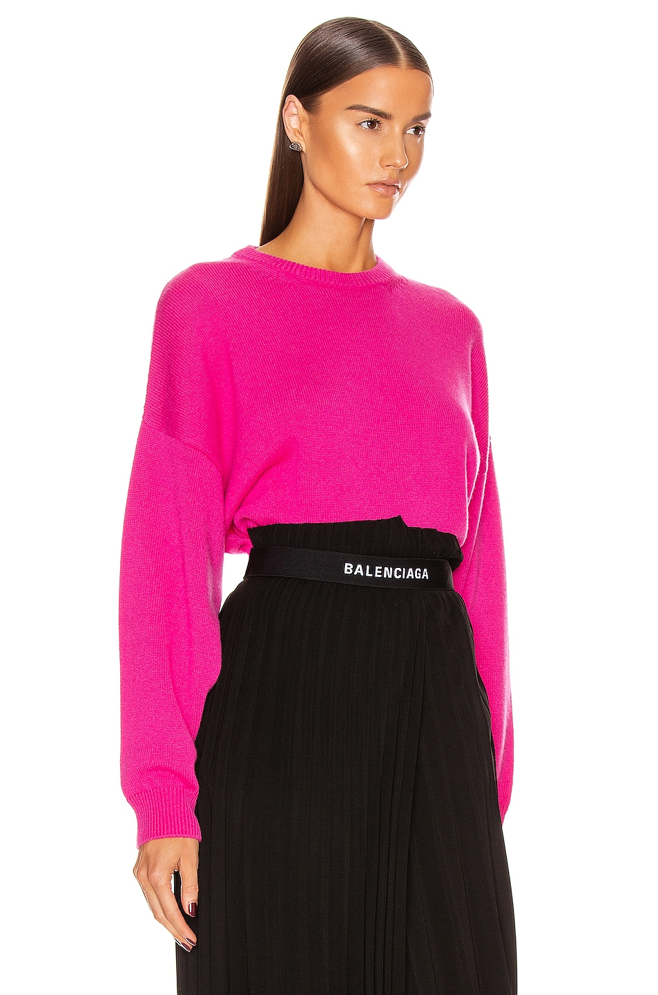 Image 2 of Balenciaga Long Sleeve Crew Neck Sweater in Shocking Pink