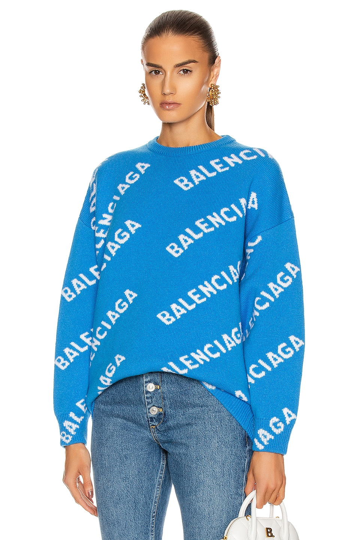 Image 1 of Balenciaga Long Sleeve Crew Neck Logo Sweater in Screen Blue & White