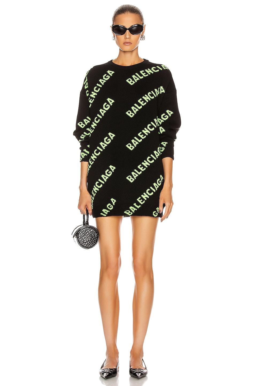 Image 1 of Balenciaga Long Sleeve Crew Neck Logo Sweater in Black & Acid Green