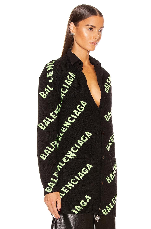 Image 3 of Balenciaga Long Sleeve Logo Cardigan in Black & Acid Green