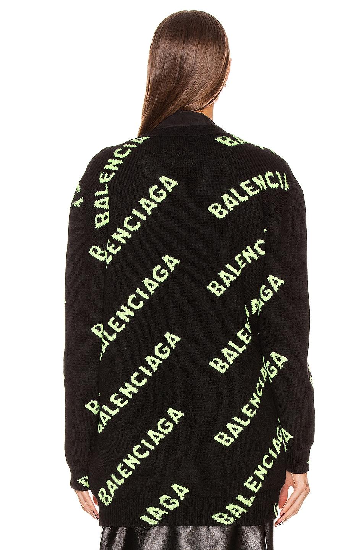Image 4 of Balenciaga Long Sleeve Logo Cardigan in Black & Acid Green