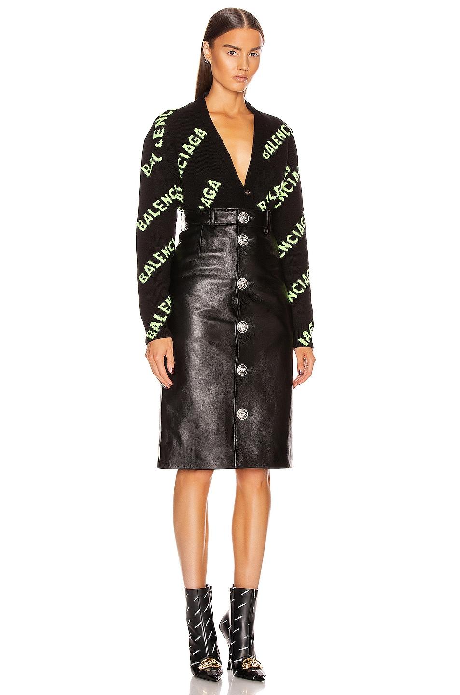 Image 5 of Balenciaga Long Sleeve Logo Cardigan in Black & Acid Green
