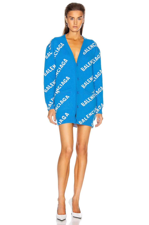 Image 1 of Balenciaga Long Sleeve Logo Cardigan in Screen Blue & White
