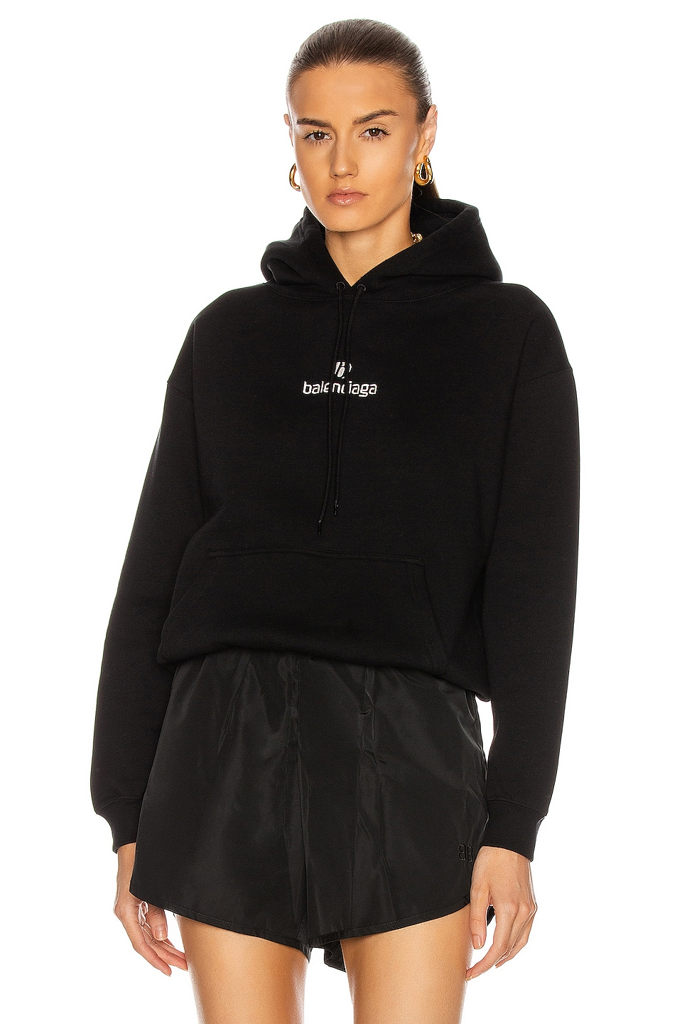 Image 1 of Balenciaga Small Fit Hoodie in Black & Chalky White