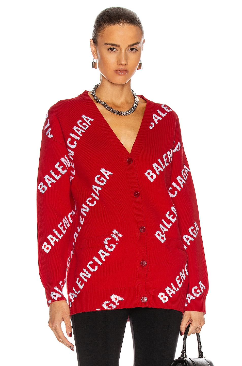 Image 1 of Balenciaga Long Sleeve Logo Cardigan in Red & White
