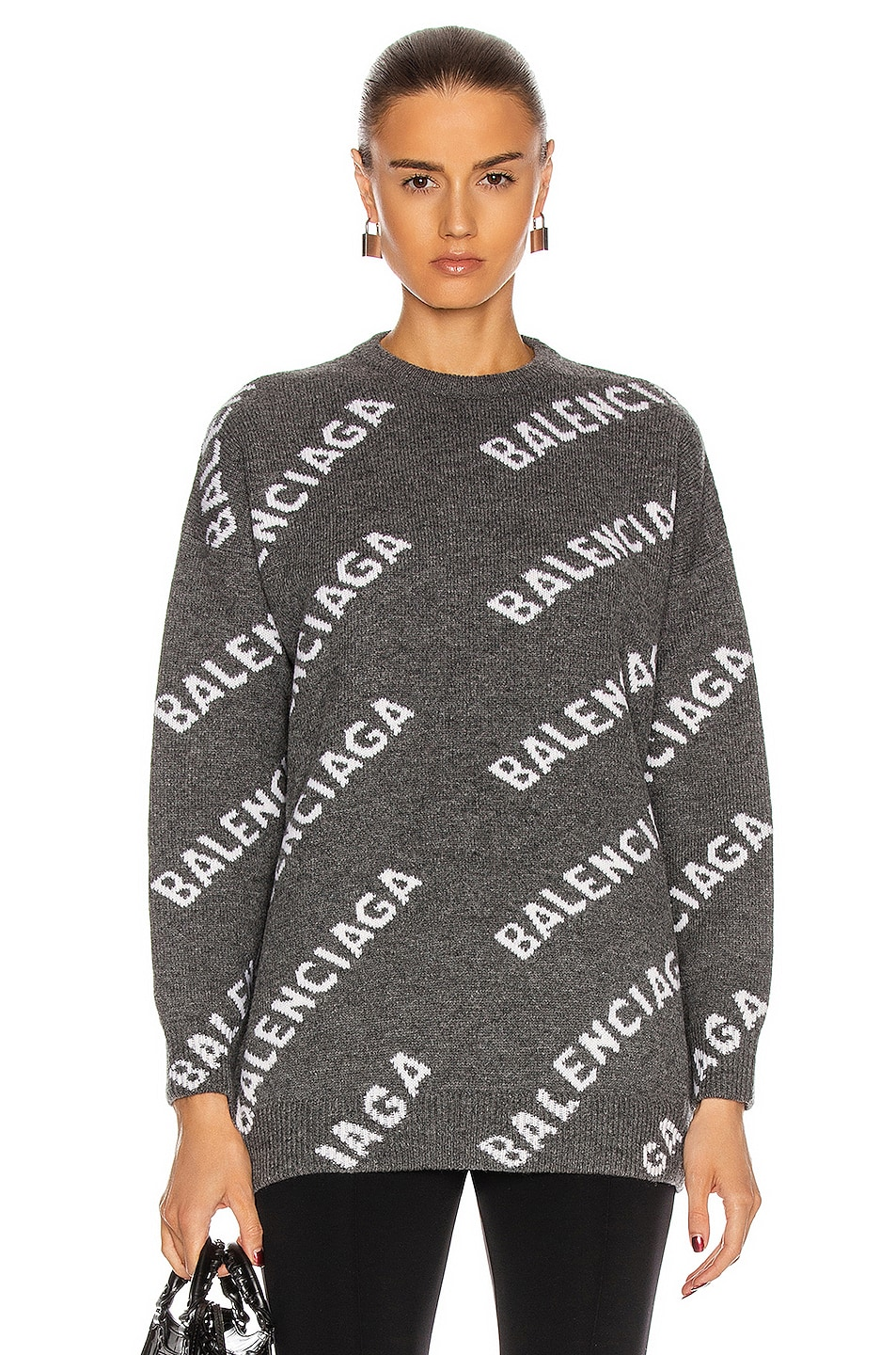 Image 1 of Balenciaga Long Sleeve Logo Crew Neck Sweater in Dark Grey & White