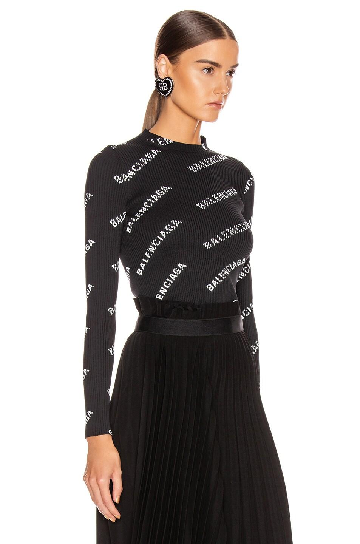 Image 2 of Balenciaga Long Sleeve Rib Knit Top in Black & White