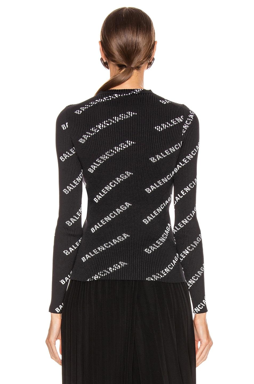 Image 3 of Balenciaga Long Sleeve Rib Knit Top in Black & White