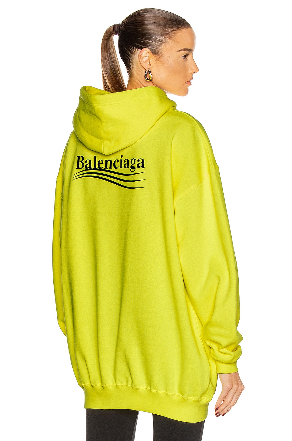 Image 1 of Balenciaga Political Medium Fit Hoodie in Fluo Yellow & Black