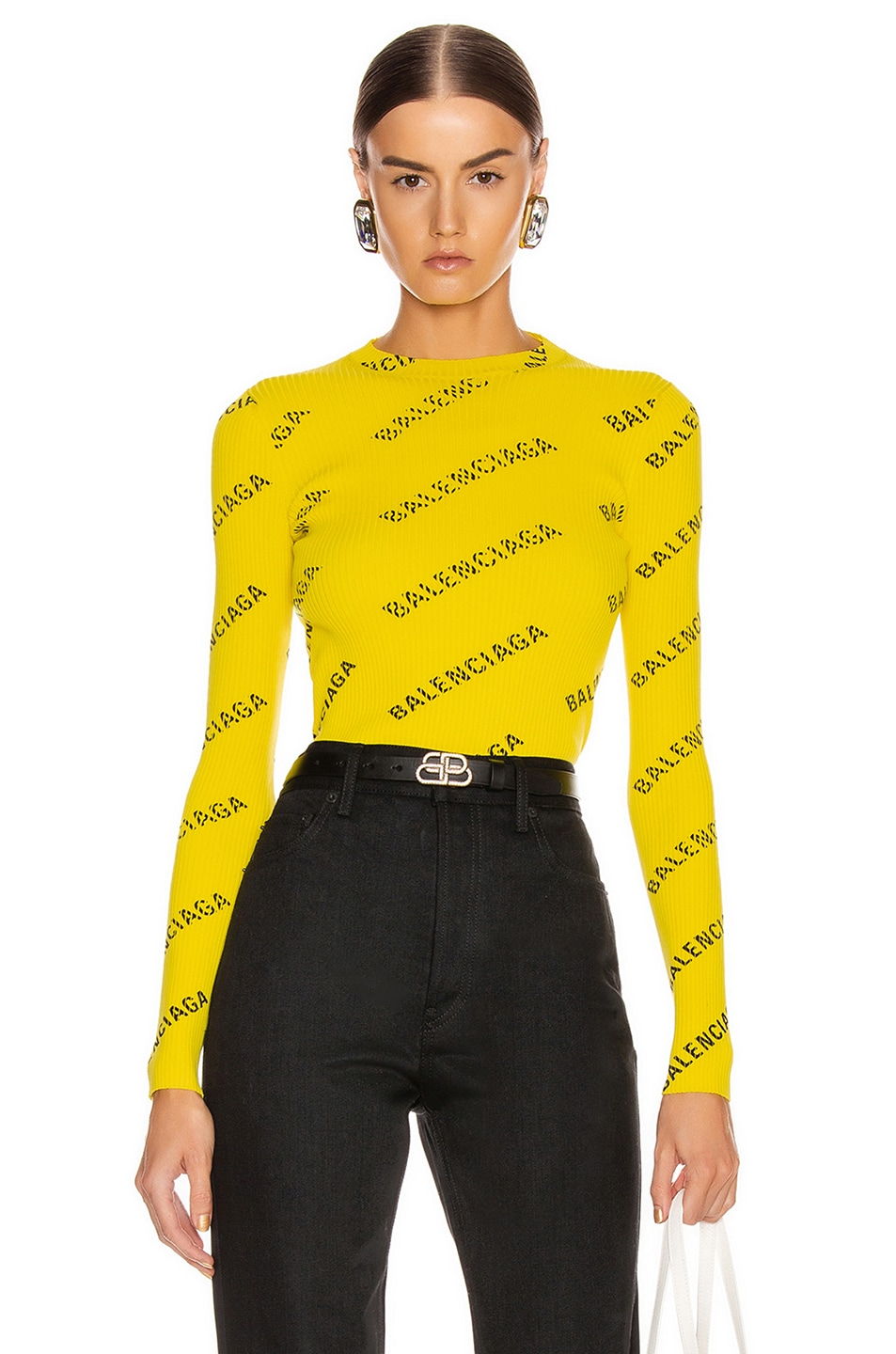 Image 1 of Balenciaga Long Sleeve Rib Knit Top in Yellow & Black