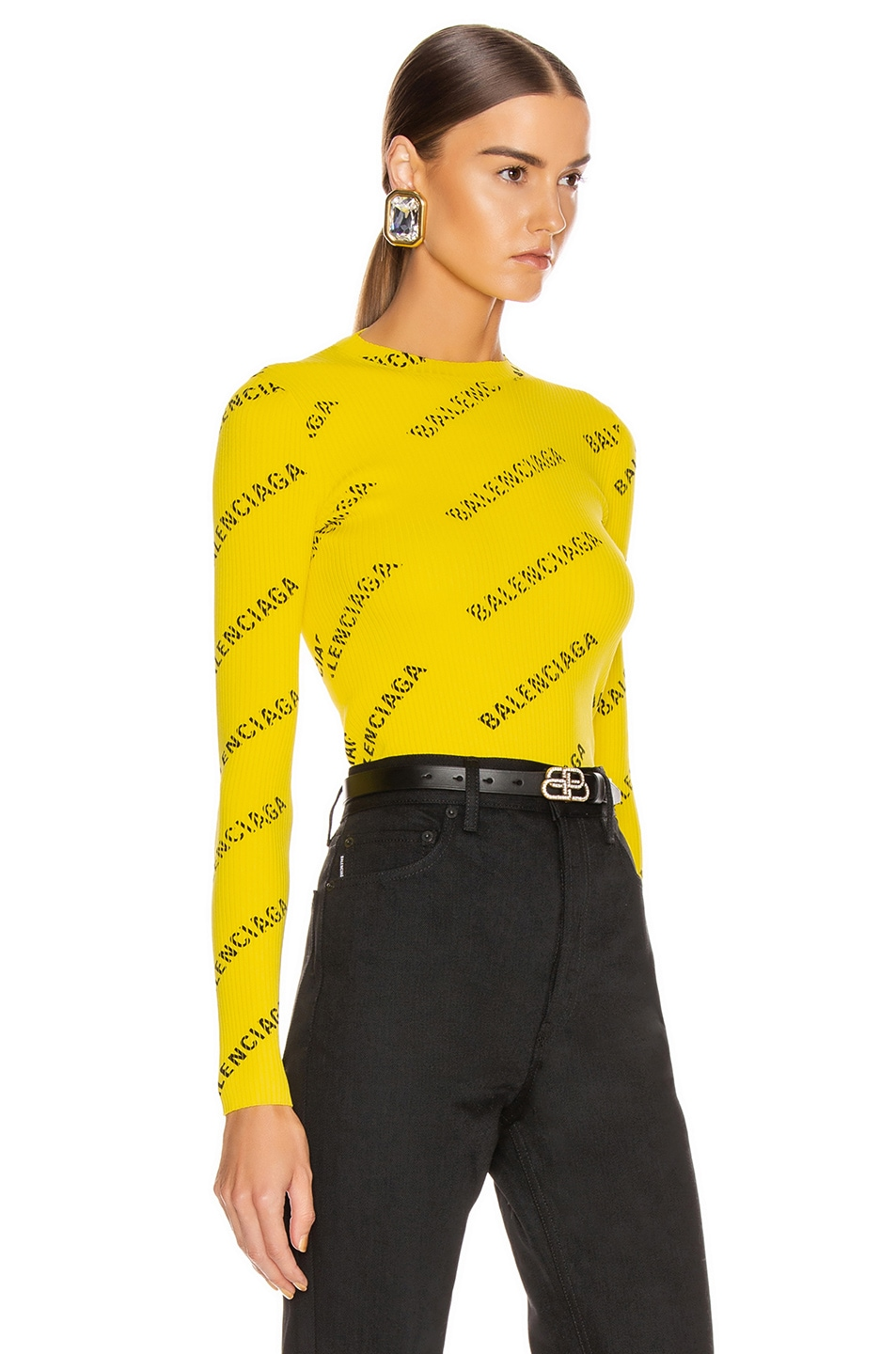 Image 2 of Balenciaga Long Sleeve Rib Knit Top in Yellow & Black
