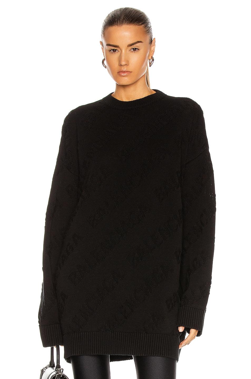 Image 1 of Balenciaga Long Sleeve Crewneck Sweater in Black