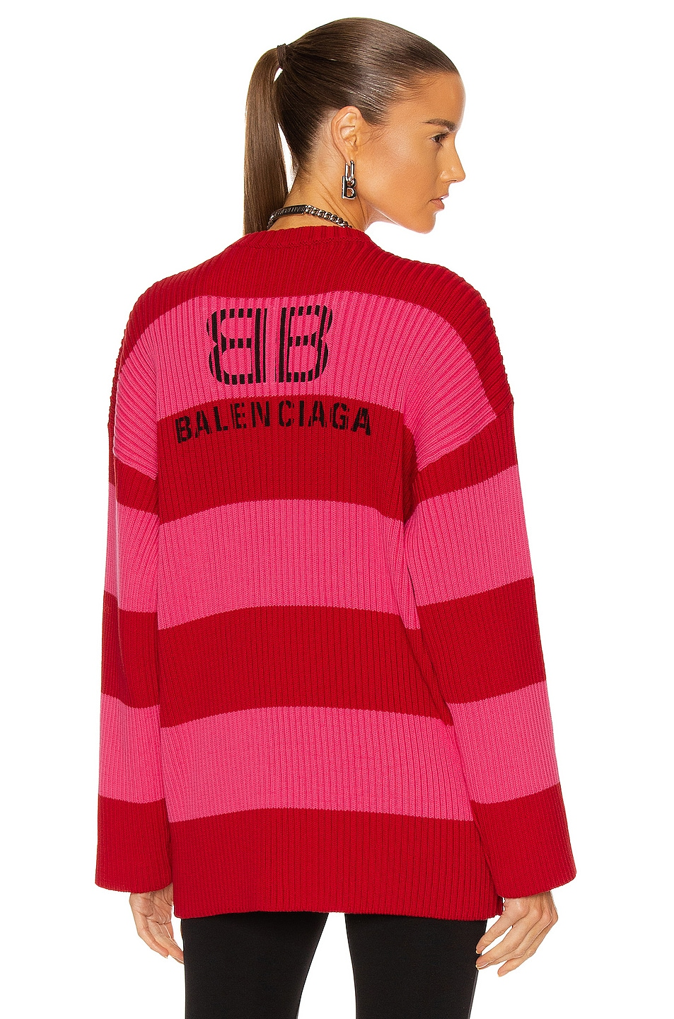 Image 1 of Balenciaga Long Sleeve Crew Neck Sweater in Red & Pink