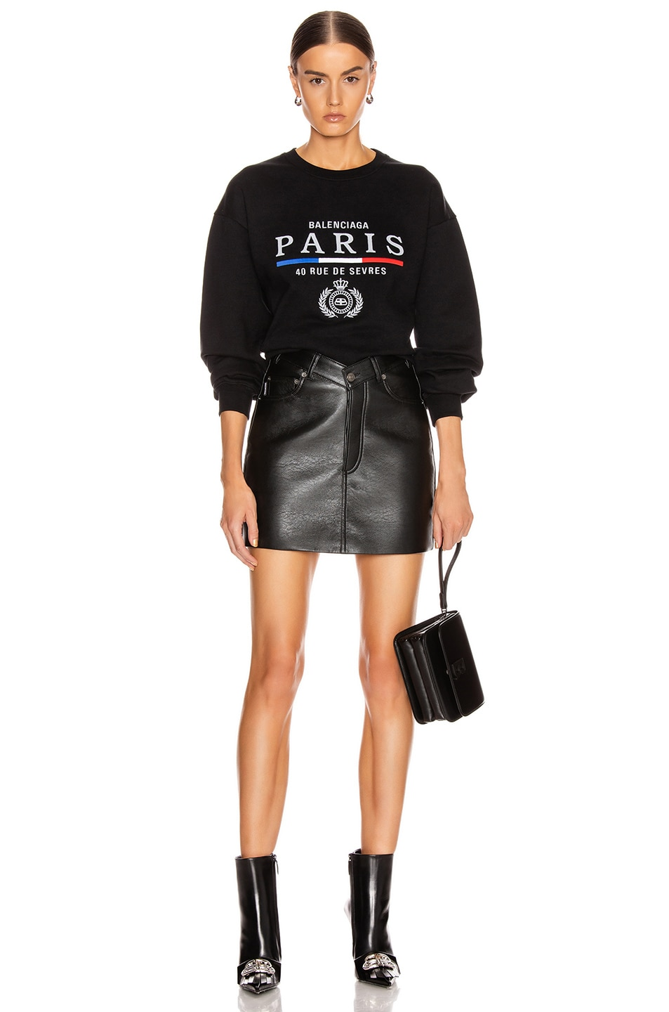 Image 4 of Balenciaga Paris Flag Crew Neck Sweatshirt in Black