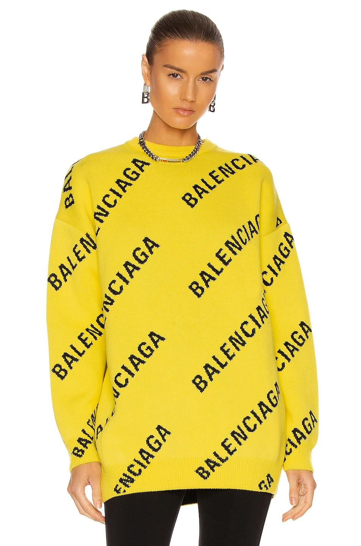 Image 1 of Balenciaga Long Sleeve Crew Neck Sweater in Yellow & Black