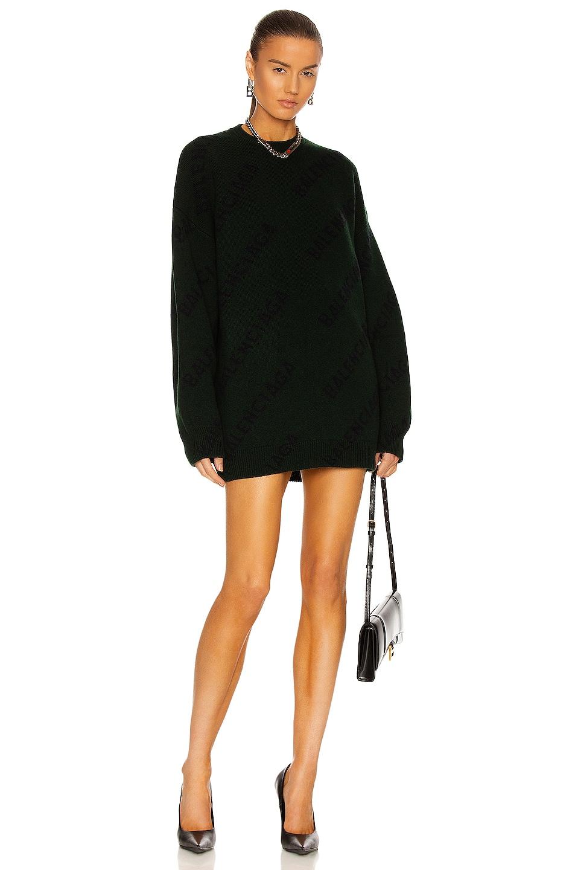Image 1 of Balenciaga Long Sleeve Crew Neck Sweater in Dark Green & Ink