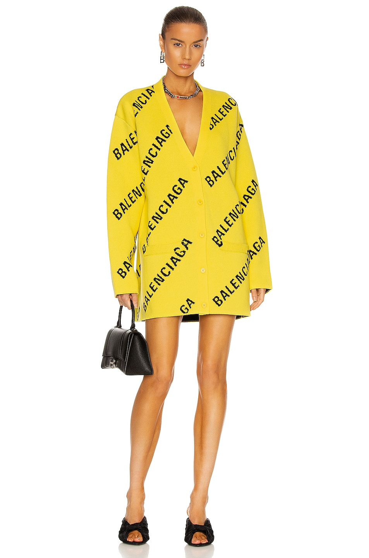 Image 1 of Balenciaga Long Sleeve Cardigan in Yellow & Black