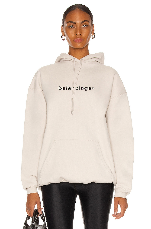 Image 1 of Balenciaga Medium Fit Hoodie in Cement Grey & Black