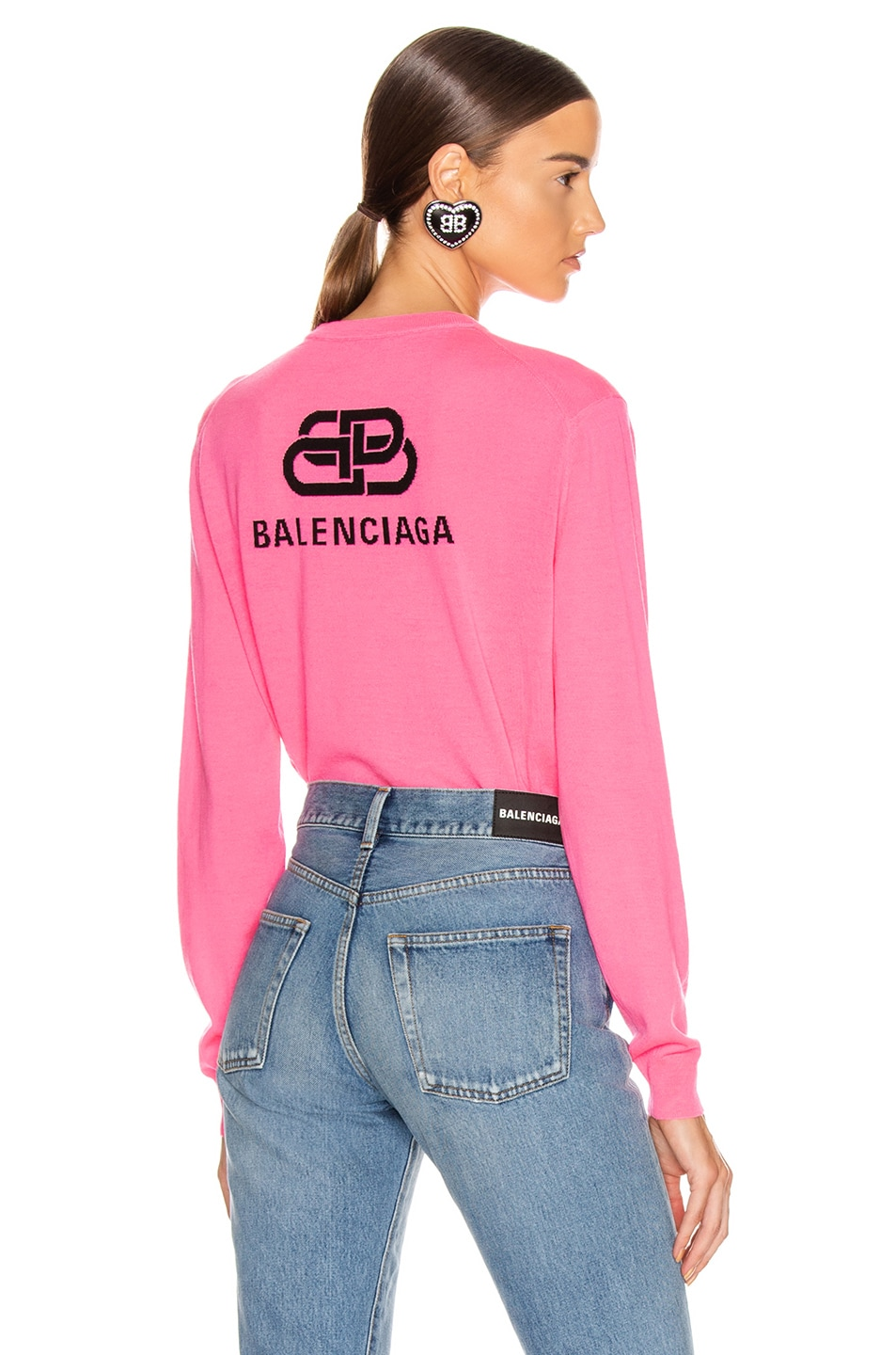 Image 1 of Balenciaga Long Sleeve Logo Sweater in Fluo Pink & Black