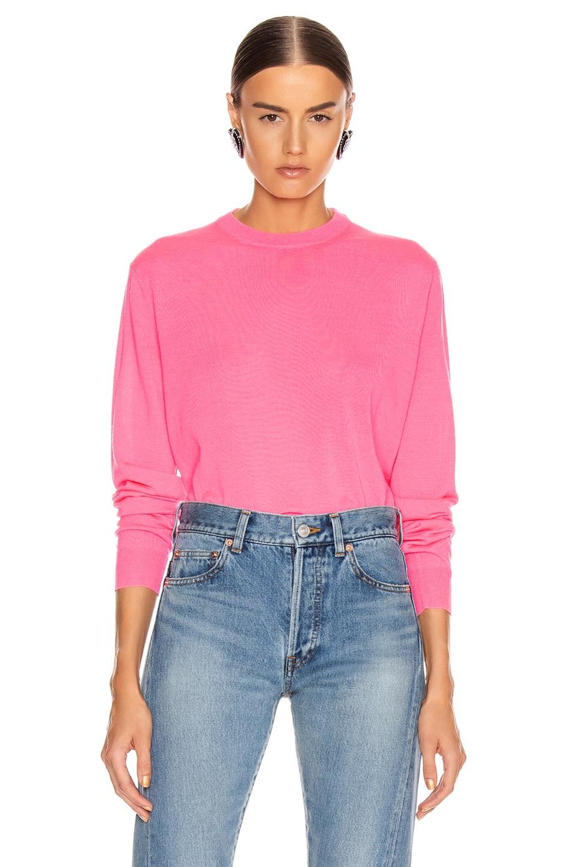 Image 2 of Balenciaga Long Sleeve Logo Sweater in Fluo Pink & Black