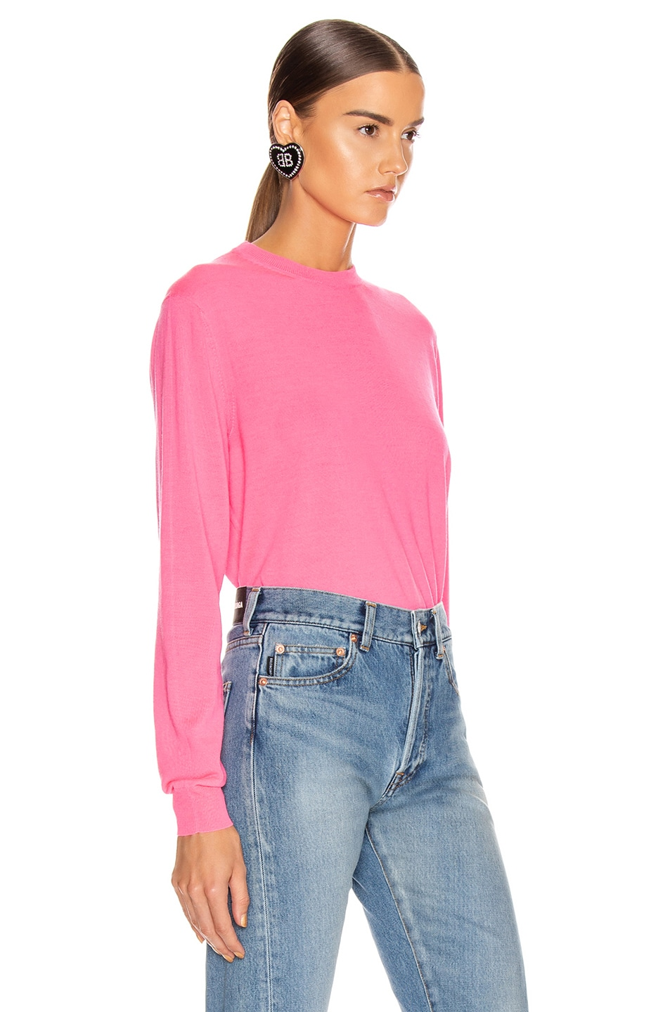 Image 3 of Balenciaga Long Sleeve Logo Sweater in Fluo Pink & Black