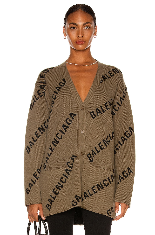 Image 1 of Balenciaga Long Sleeve Cardigan in Light Brown & Black