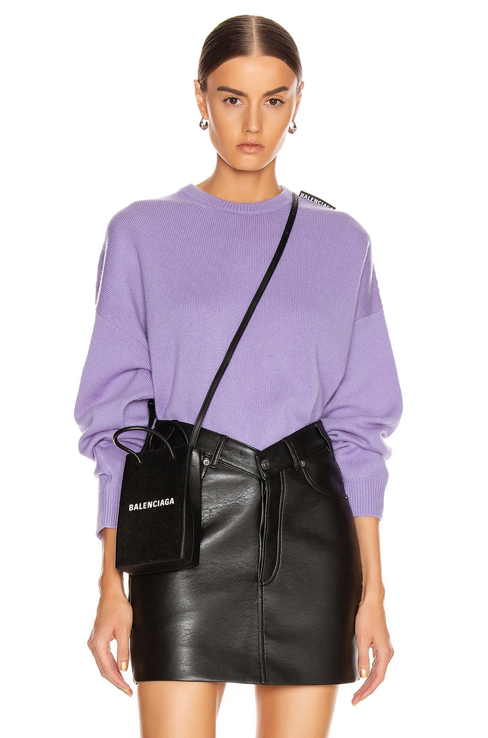 Image 1 of Balenciaga Long Sleeve Crew Neck Sweater in Lilac