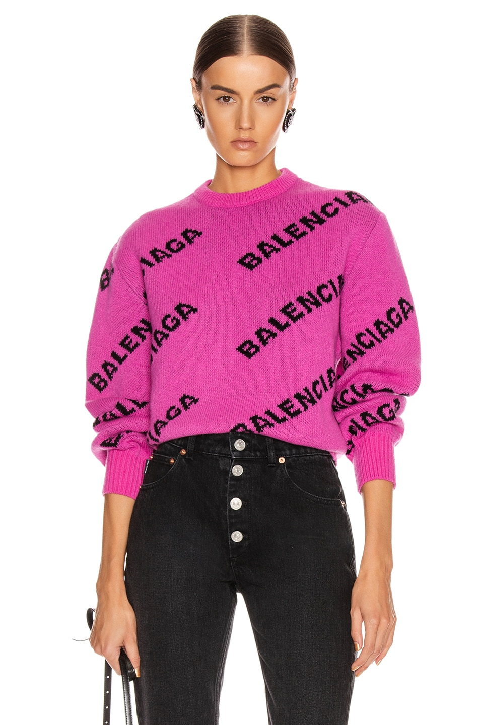 Image 1 of Balenciaga Long Sleeve Logo Crew Neck Sweater in Pink & Black