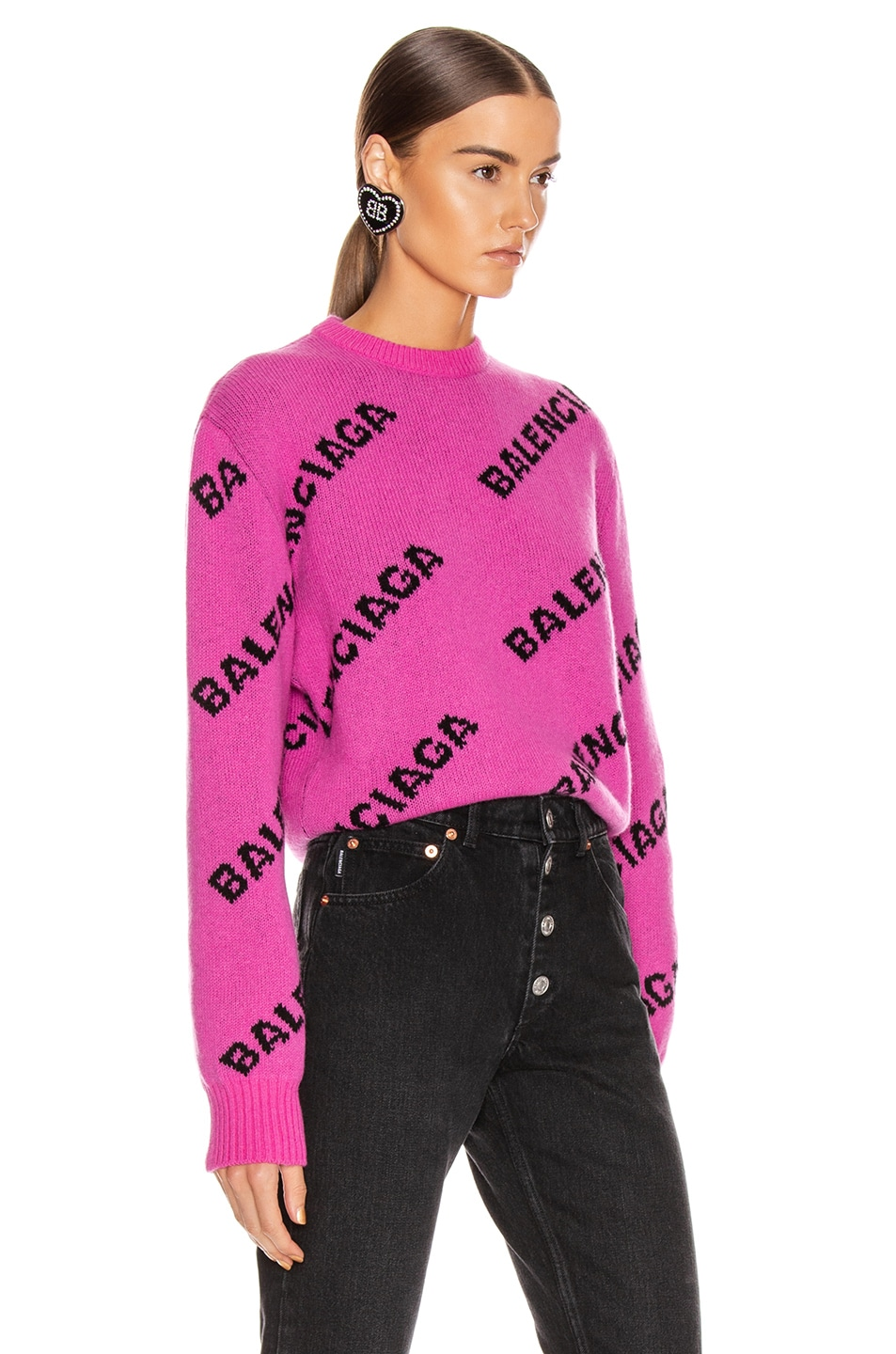Image 2 of Balenciaga Long Sleeve Logo Crew Neck Sweater in Pink & Black