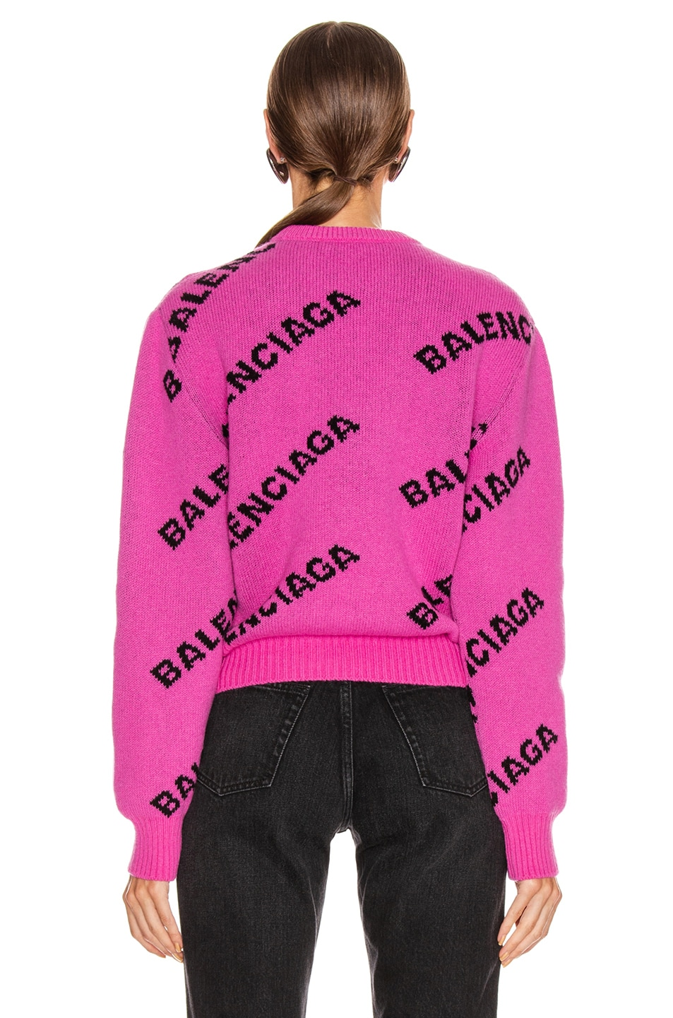 Image 3 of Balenciaga Long Sleeve Logo Crew Neck Sweater in Pink & Black