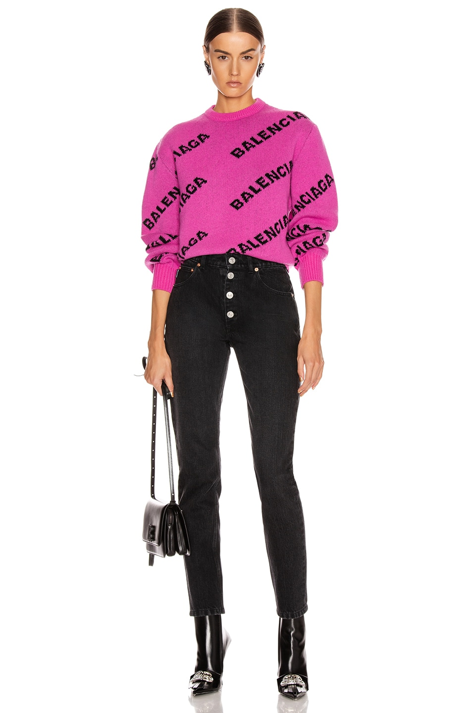 Image 4 of Balenciaga Long Sleeve Logo Crew Neck Sweater in Pink & Black