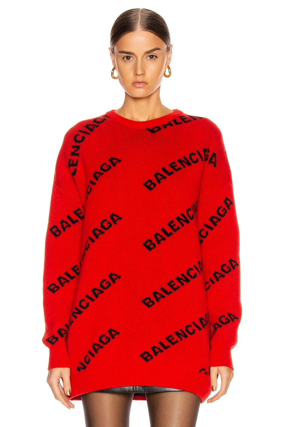 Image 2 of Balenciaga Long Sleeve Logo Crew Neck Sweater in Red & Black