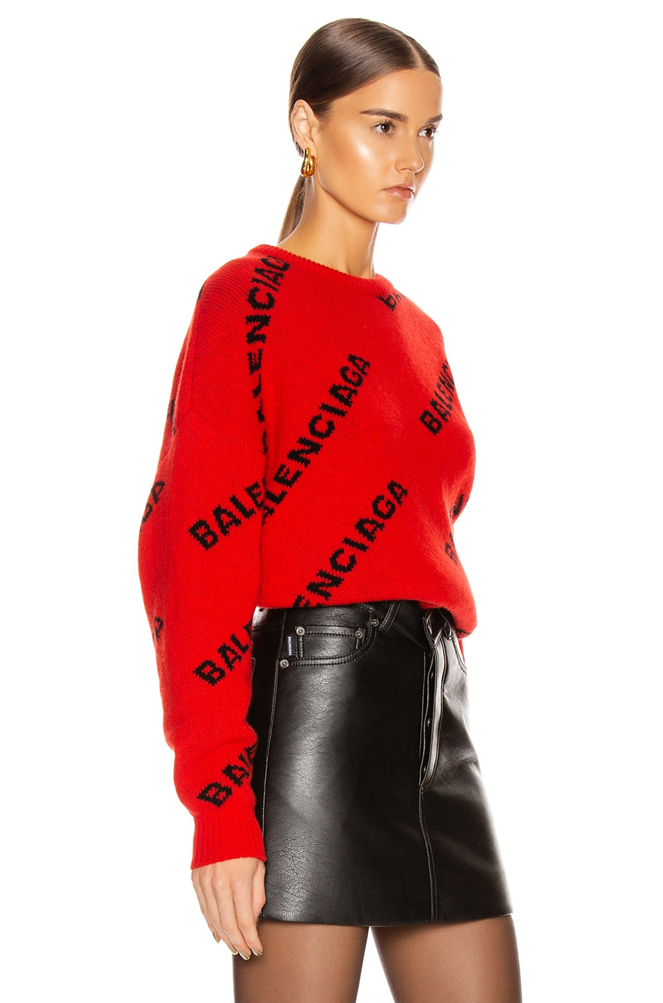Image 3 of Balenciaga Long Sleeve Logo Crew Neck Sweater in Red & Black