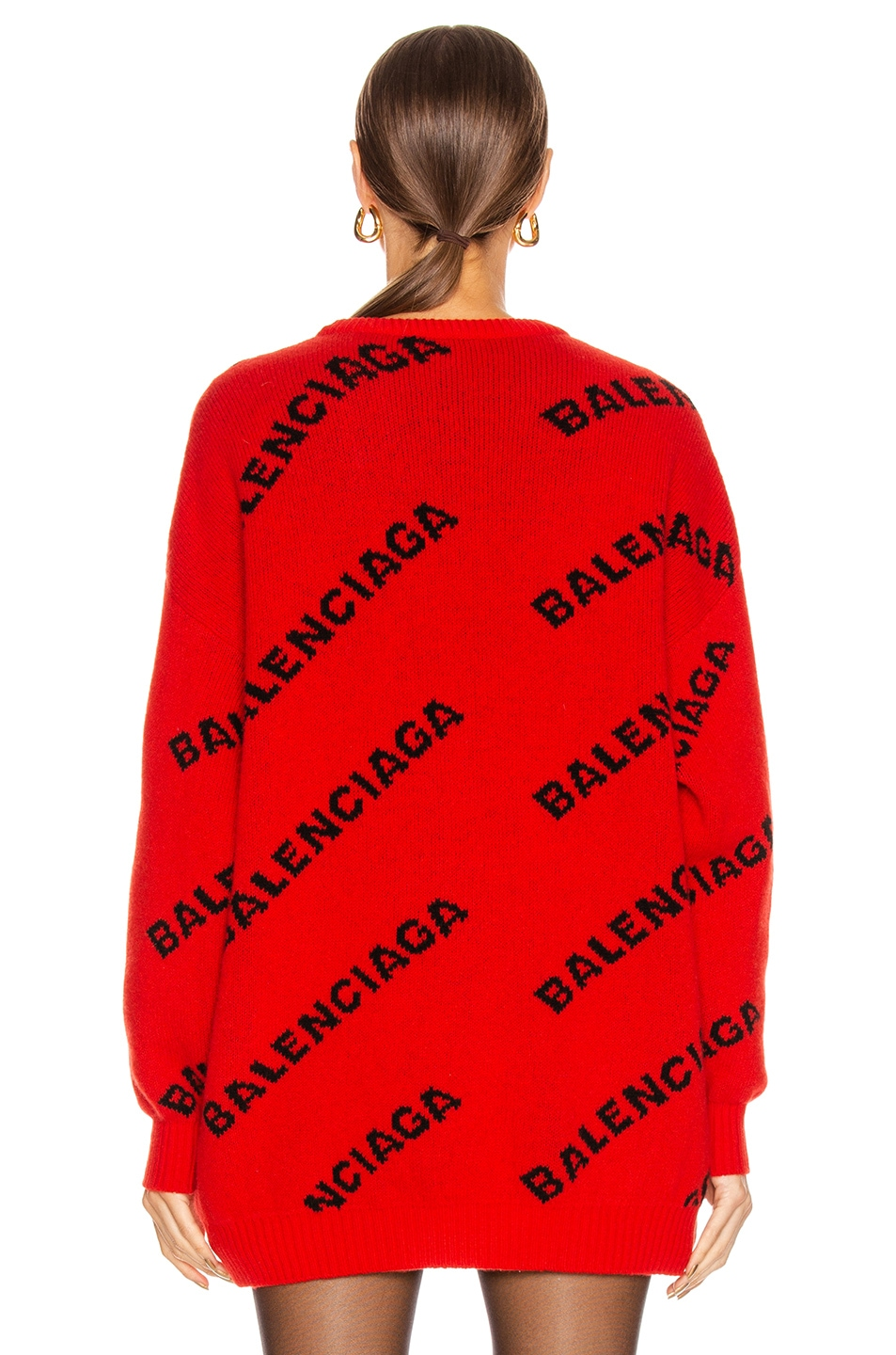 Image 4 of Balenciaga Long Sleeve Logo Crew Neck Sweater in Red & Black