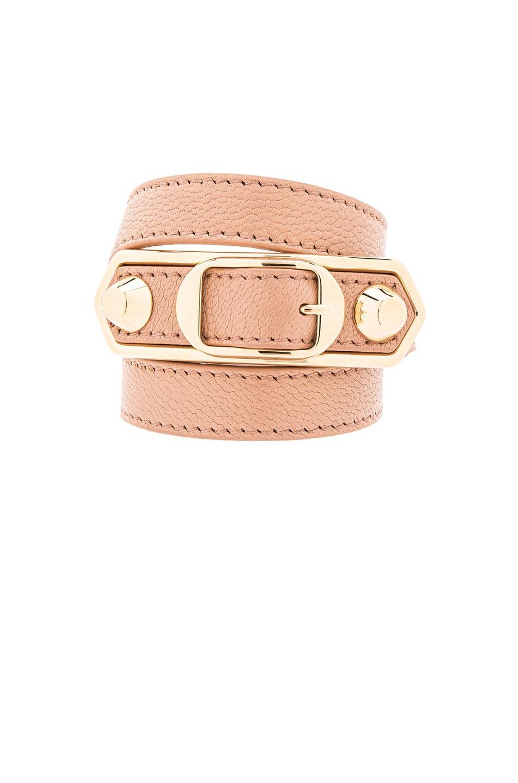 Image 1 of Balenciaga Large Metallic Edge Bracelet in Desert Rose