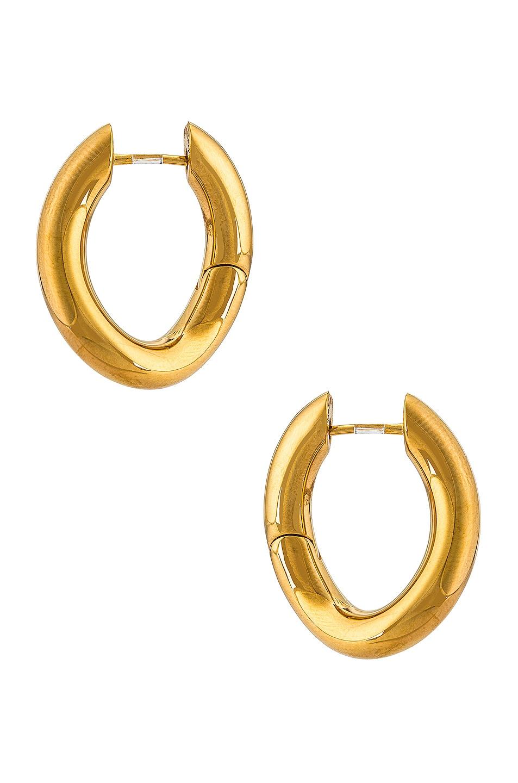 Image 1 of Balenciaga XS Loop Earrings in Shiny Gold