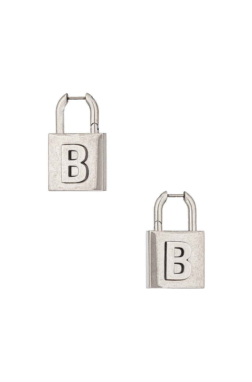 Image 1 of Balenciaga Lock Earrings in Antique Silver