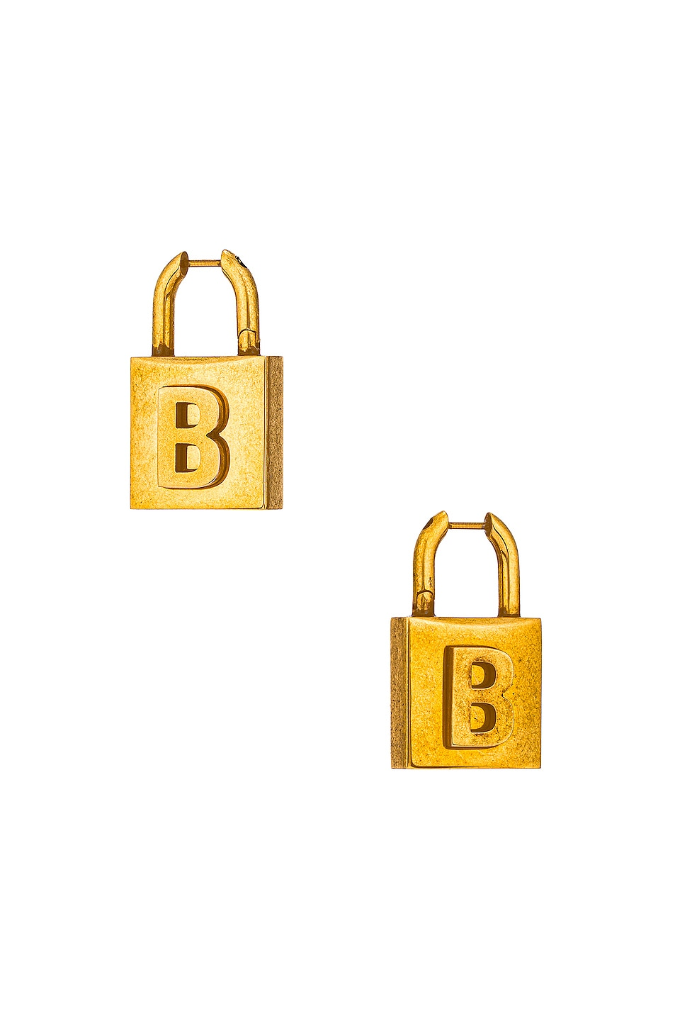 Image 1 of Balenciaga Lock Earrings in Antique Gold