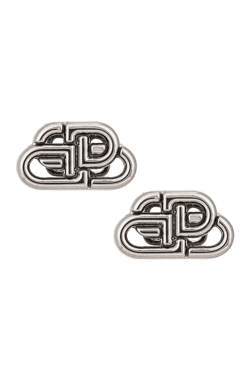 Image 1 of Balenciaga XS BB Stud Earrings in Silver
