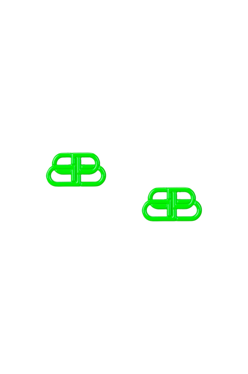 Image 1 of Balenciaga Small BB Stud Earrings in Fluo Green