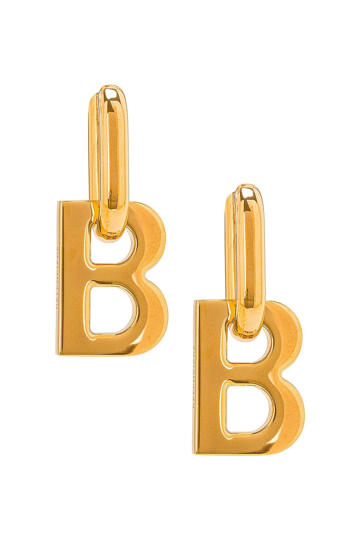Image 1 of Balenciaga XL B Chain Earrings in Shiny Gold