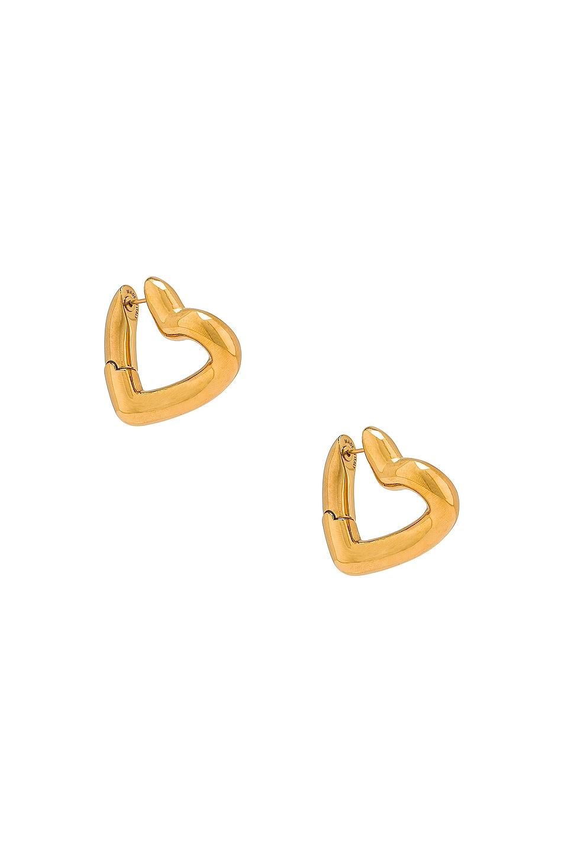 Image 1 of Balenciaga Heart Loop Earrings in Shiny Gold