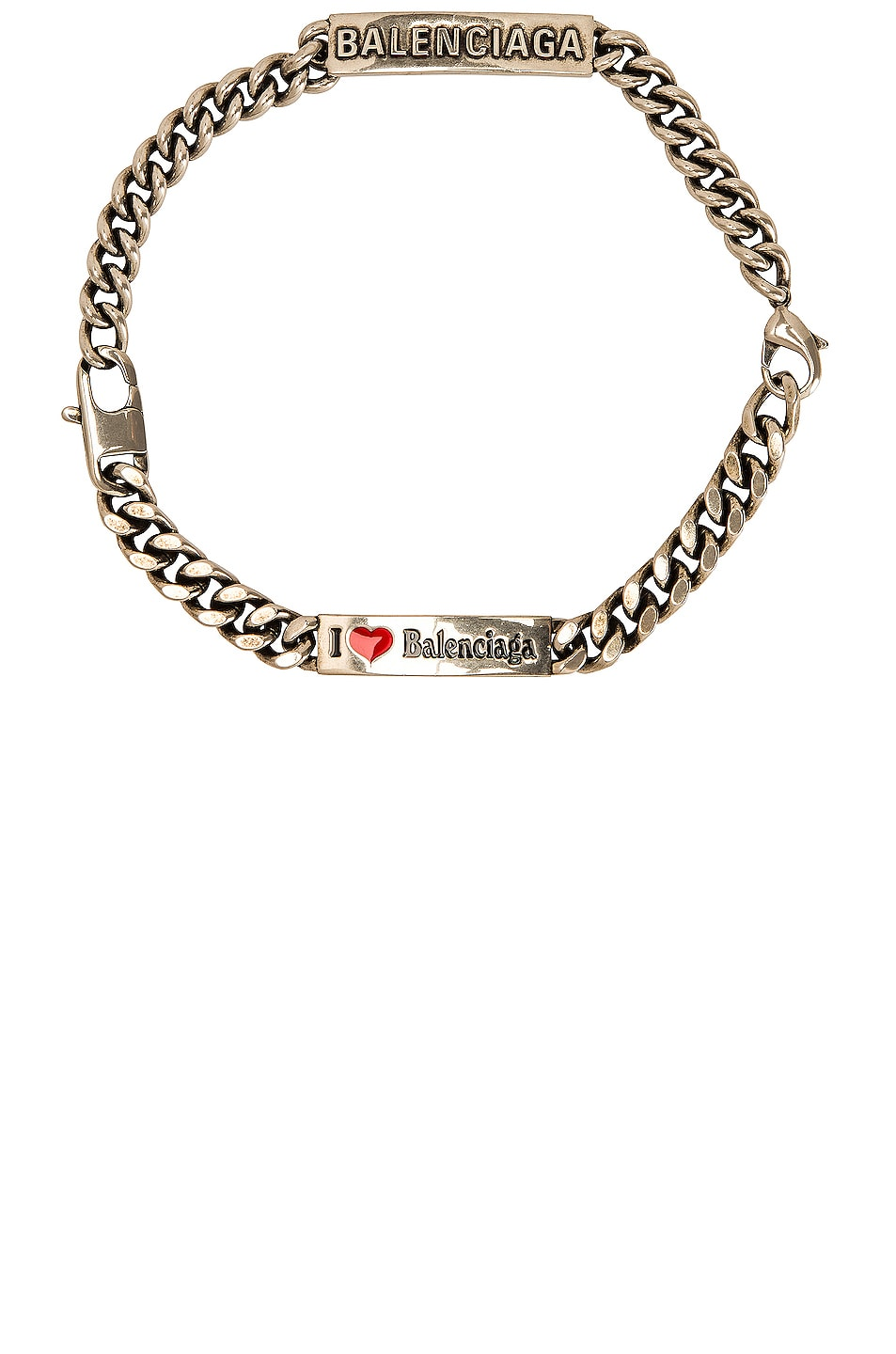 Image 1 of Balenciaga Plate Choker Bracelet Necklace in Brass & Antique Silver