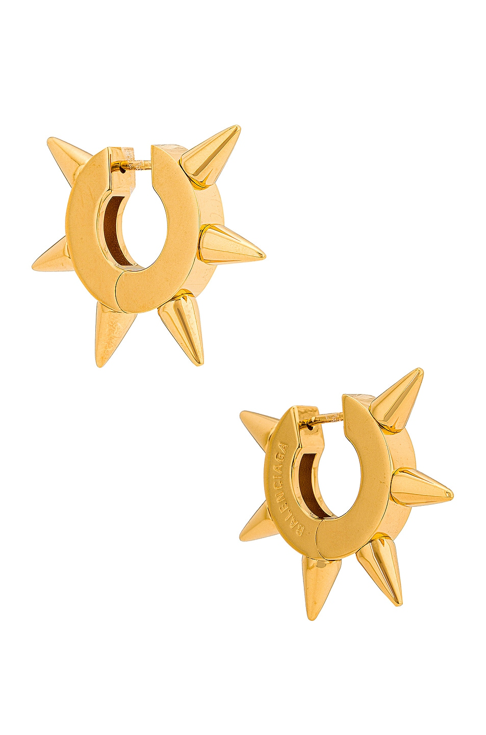 Image 1 of Balenciaga Punk Spike Earrings in Brass & Gold