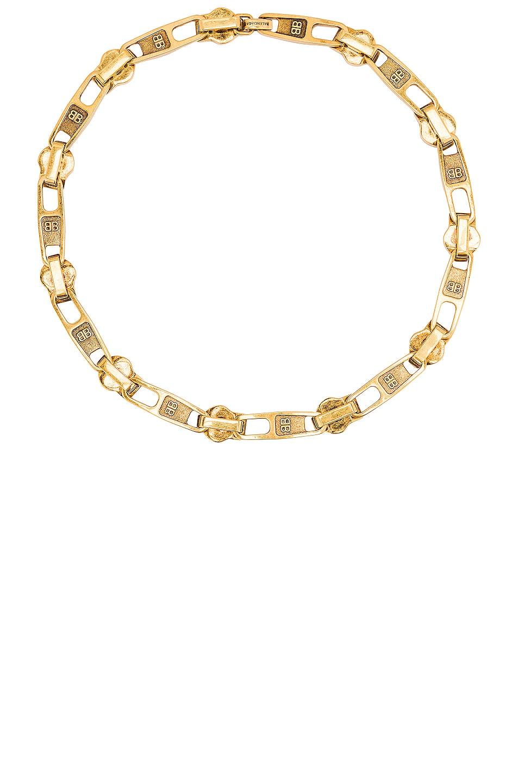 Image 1 of Balenciaga Zip Necklace in Antique Gold