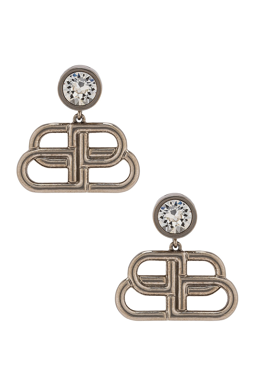 Image 1 of Balenciaga BB Drop Earrings in Silver & Crystal
