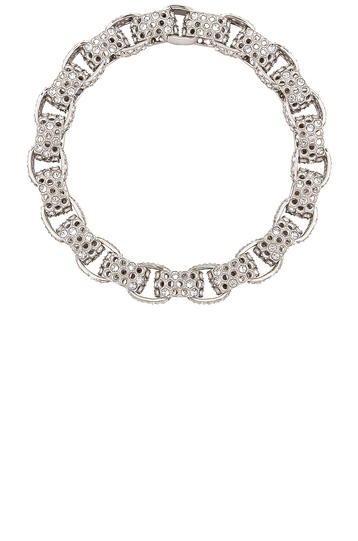 Image 1 of Balenciaga 3D Print Choker in Shiny Silver & Crystal