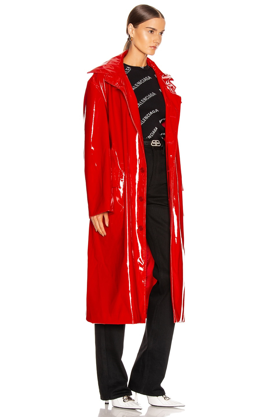 Image 3 of Balenciaga Fitted Trench in Masai Red