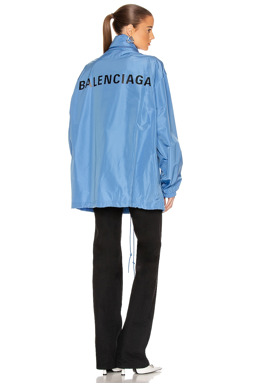 Image 1 of Balenciaga Logo Windbreaker Jacket in Sky Blue