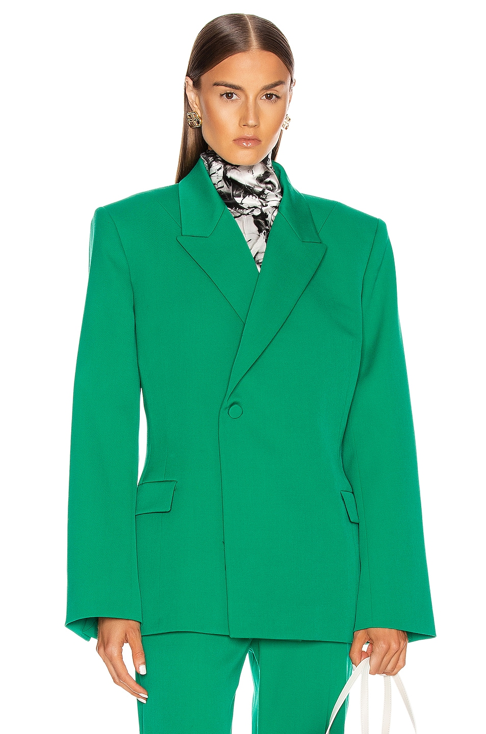 Image 1 of Balenciaga Waisted Jacket in Emerald Green